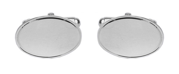 A pair of oval sterling silver cufflinks
