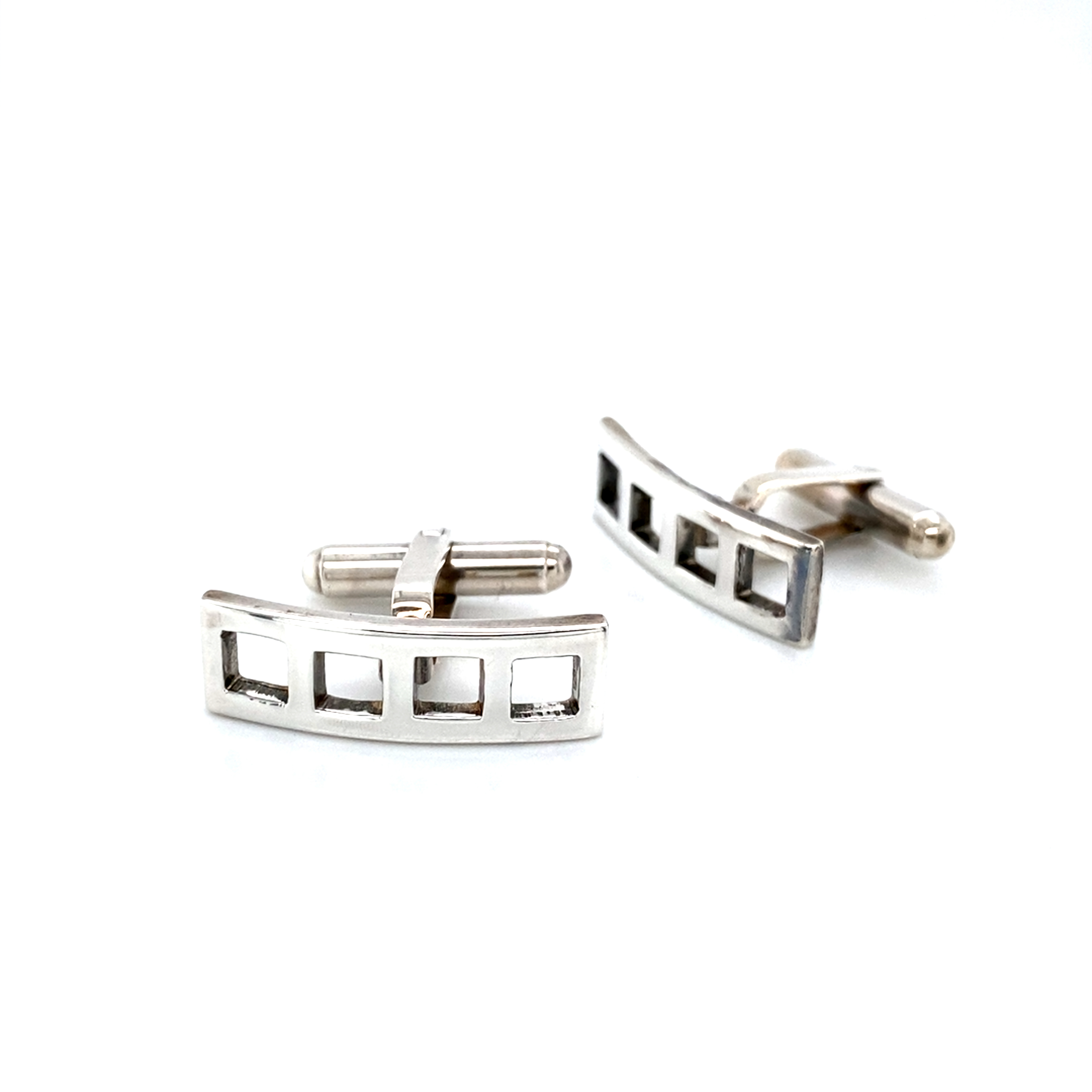 Sterling Silver Square Cut Out Cufflinks