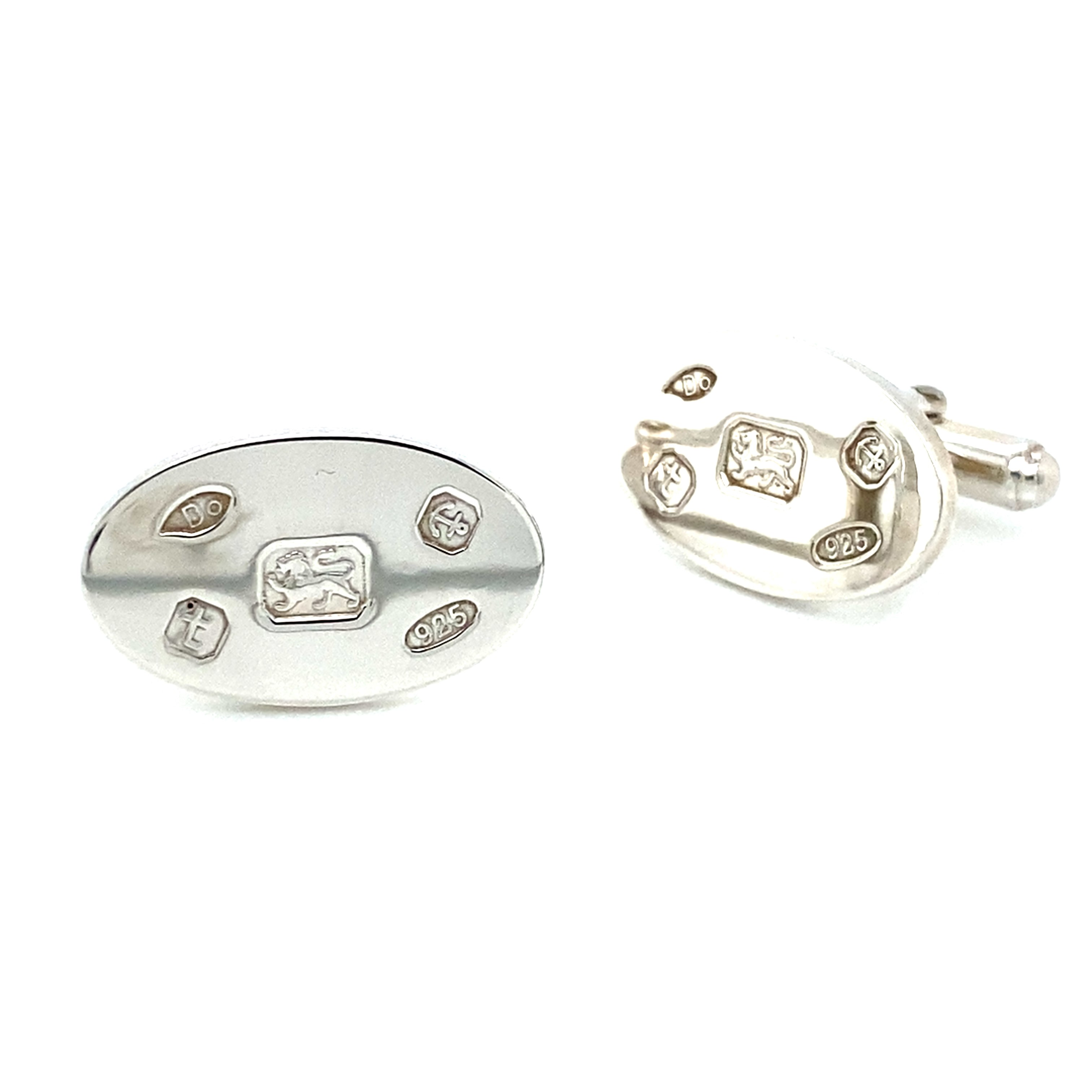Sterling Silver Oval Cufflinks with Feature Hallmarks