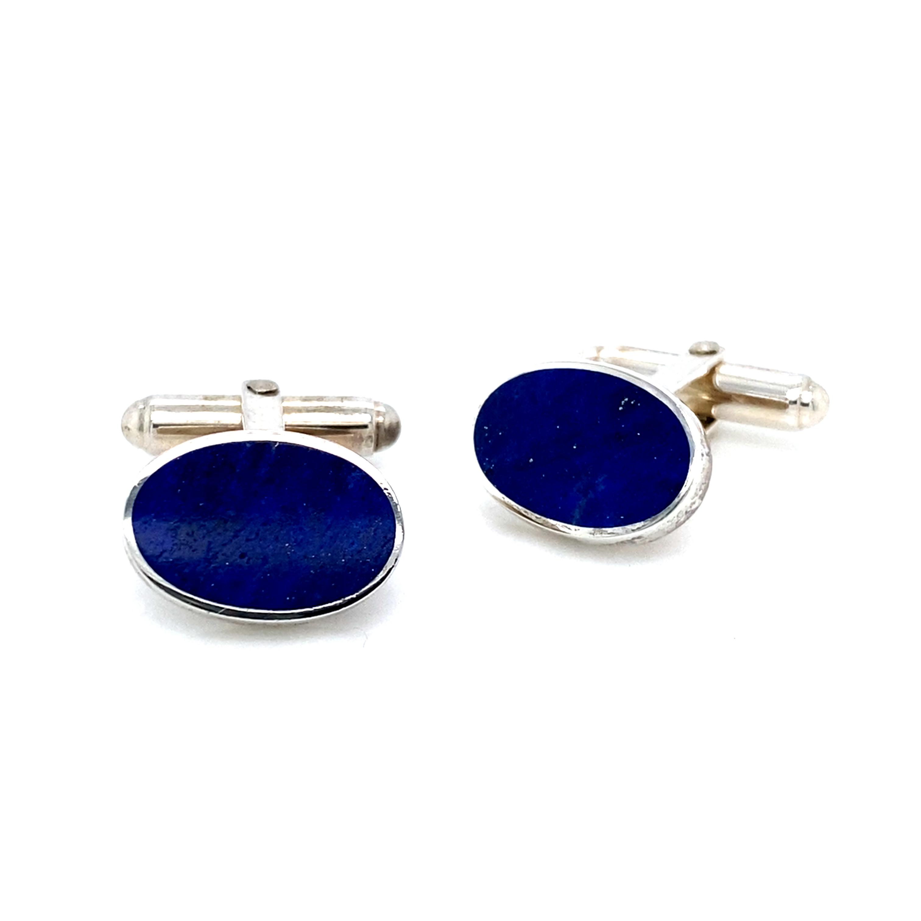 Sterling Silver Lapis Lazuli Oval Cufflinks