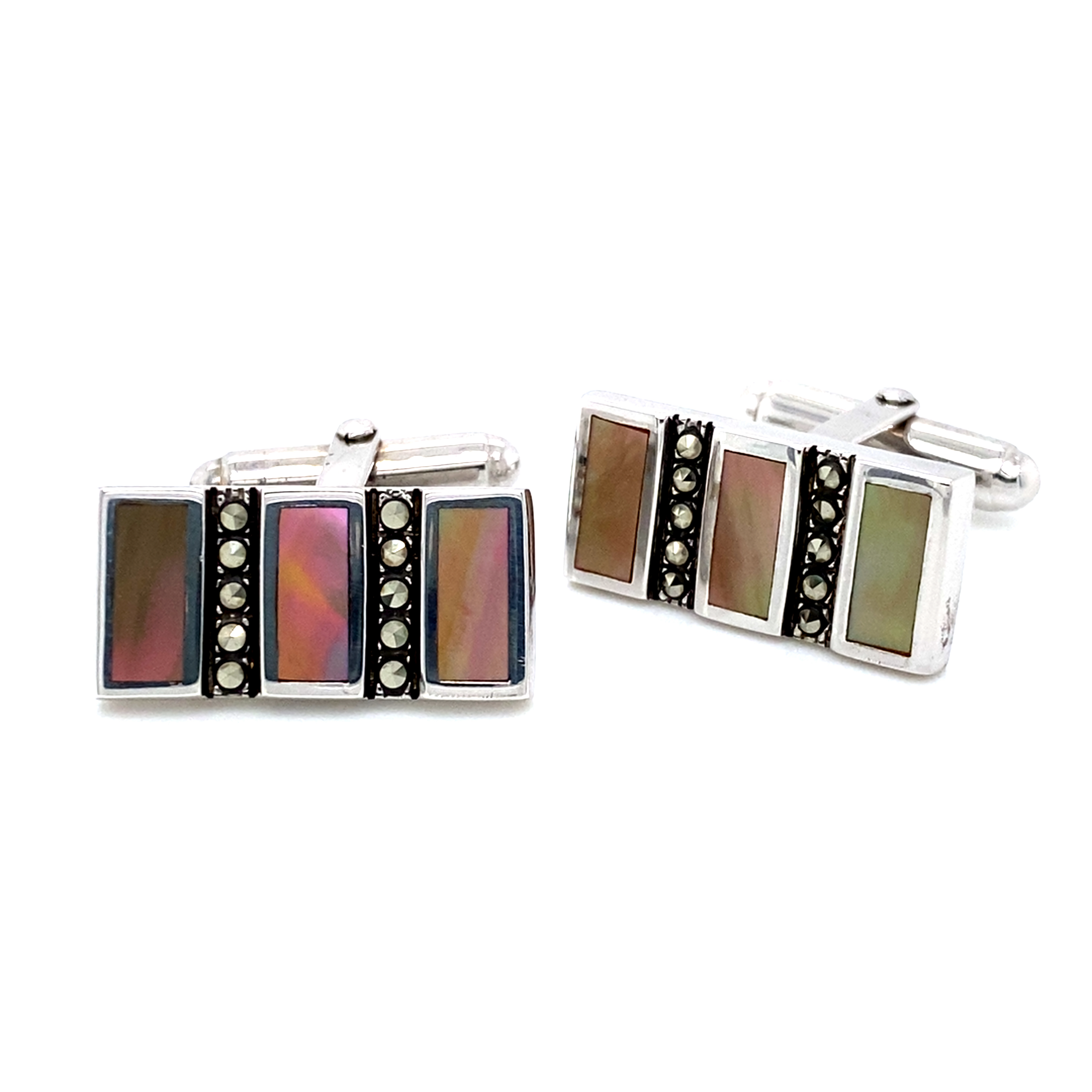 Sterling Silver, Mother of Pearl and Marcasite Cufflinks