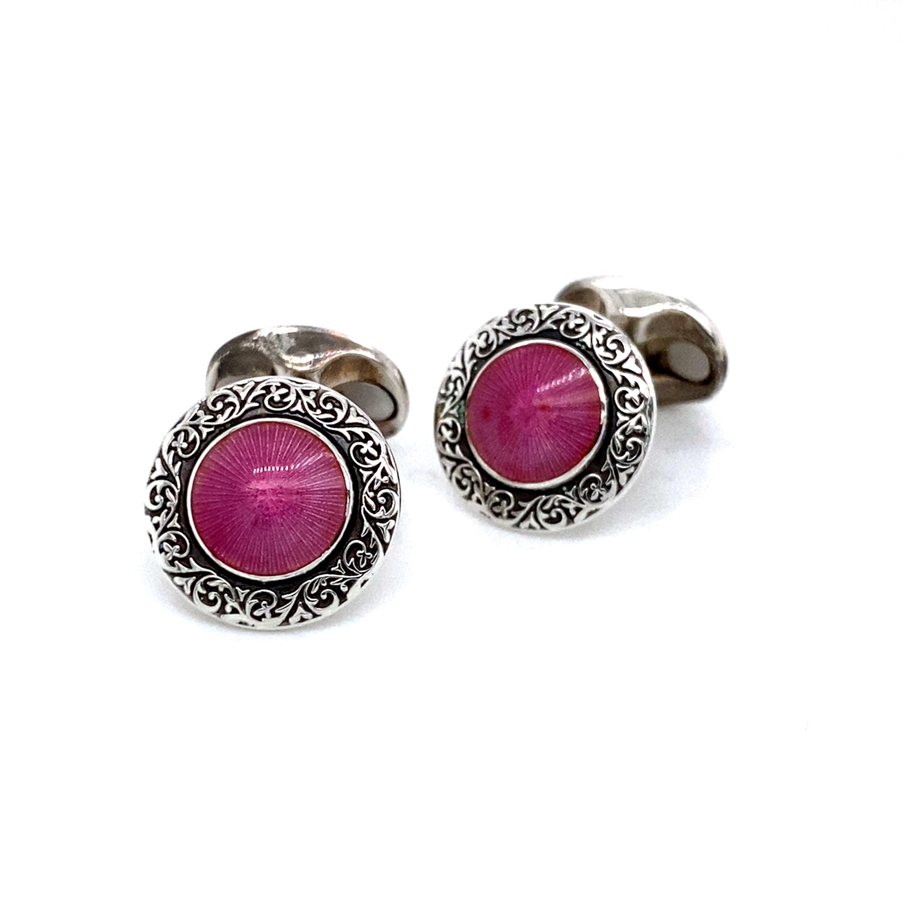 Sterling Silver and Pink Enamel Cufflnks