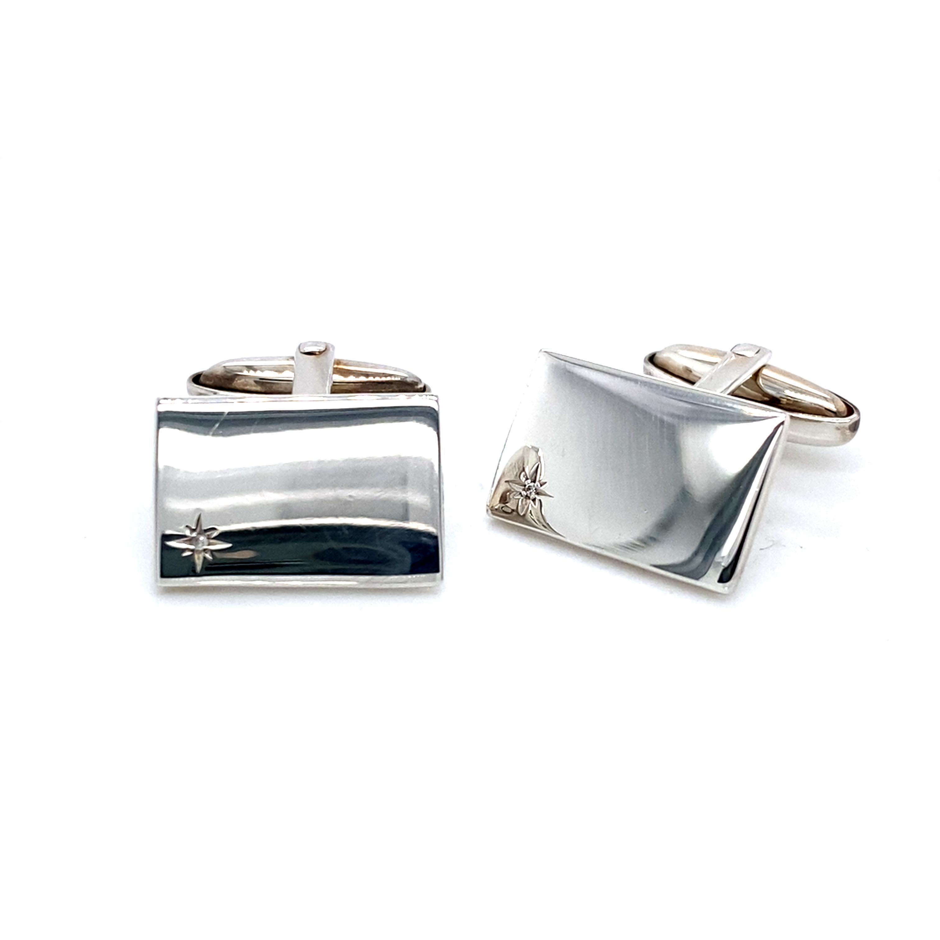 Sterling Silver and Diamond Rectangular Cufflinks